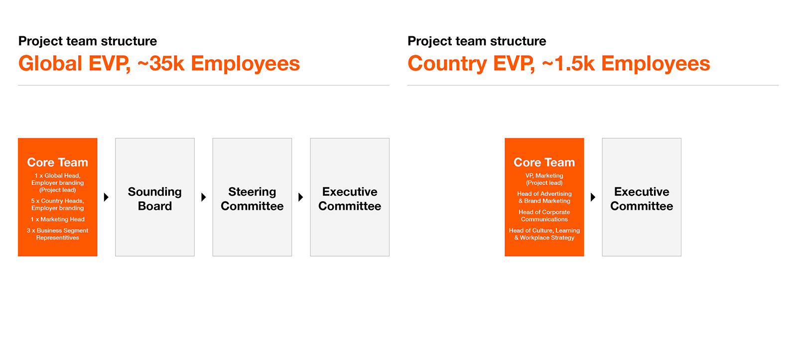 Example client project team structures based on two recent Maximum projects