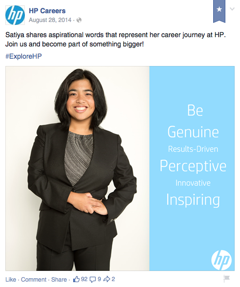 Posting made by HP on their Global Careers Facebook page (link: http://on.fb.me/15P8pOu)