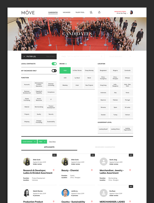 the final page layout for H&M's bespoke internal mobility platform: MOVE